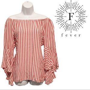 Fever Red/white striped bell sleeve top
